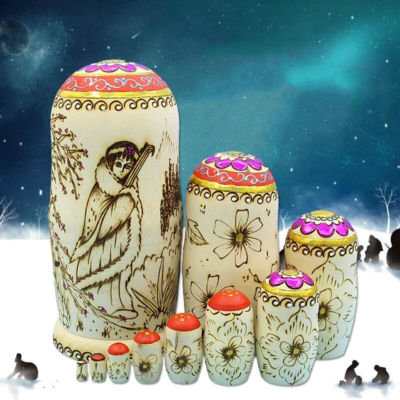 10 pièces/ensemble grande taille 27 cm fait à la main traditionnelle russe nidification poupées en bois jouets Matryoshka poupée filles cadeau d'anniversaire - 2