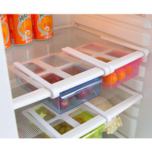 2017 Hot Sale Slide Fridge Freezer Space Saver Refrigerator Storage Rack Shelf Drawer 3Color Storage Holders Kitchen Accessories