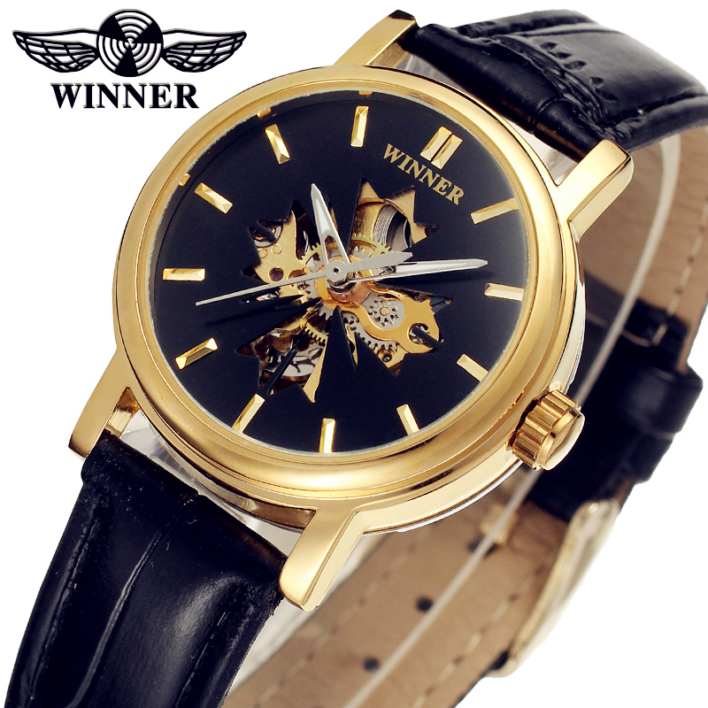 Fashion WINNER Women Luxury Brand Vintage Skeleton Leather Lady Watch Automatic Mechanical Wristwatches Gift Box Relogio Releges fashion winner men luxury brand business skeleton leather strap watch automatic mechanical wristwatches gift box relogio releges