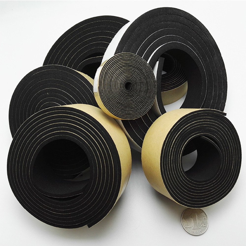 EPDM Neoprene Adhesive Tape Insulation Gasket Door Window Seals Cushion 5mm 10mm x 10 15mm 20mm 25mm 30mm 40mm 50mm Black