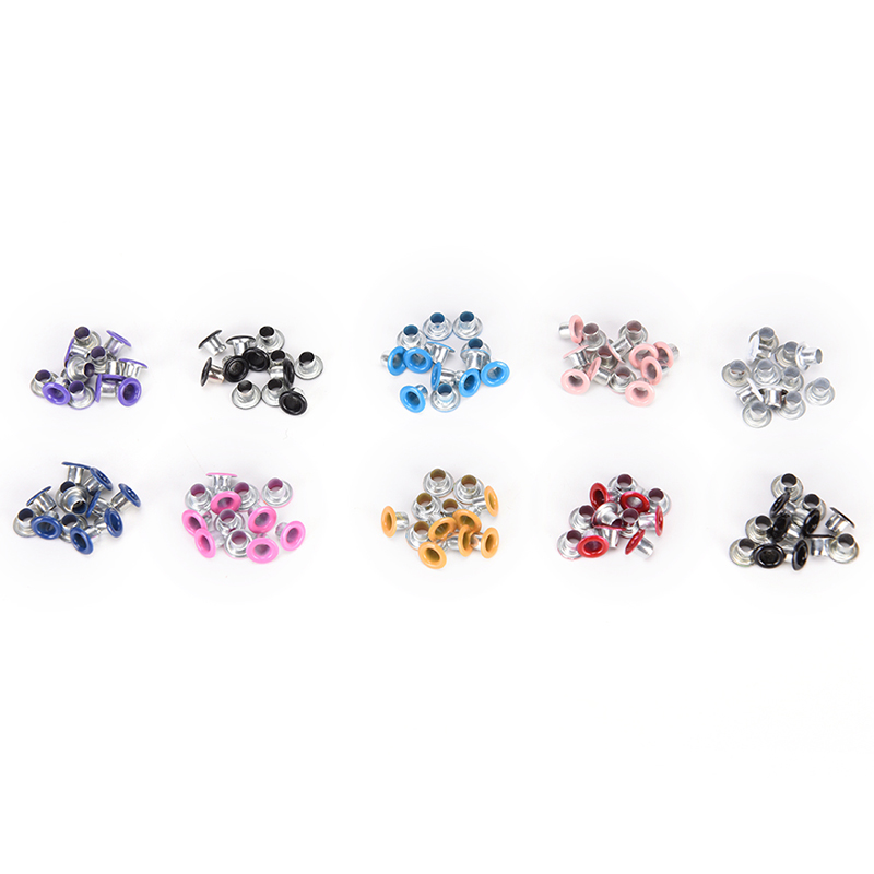 100pcs Hole 3mm Metal Mixed Color Eyelets For Leathercraft DIY Scrapbooking Shoes Belt Cap Bag Tags Clothes Fashion Accessories