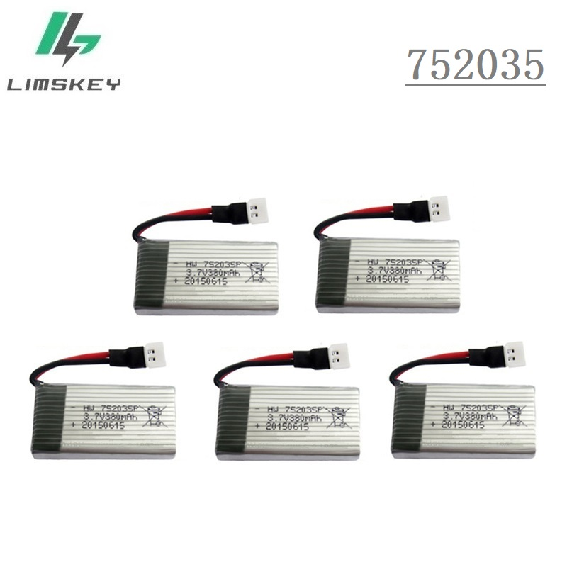 5 unids/set 3,7 V 380 mah 25C actualizado para Hubsan X4 H107d para RC Quadcopter 3,7 V Lipo batería para batería Para Dron FY310B/M62R/DFD/F180