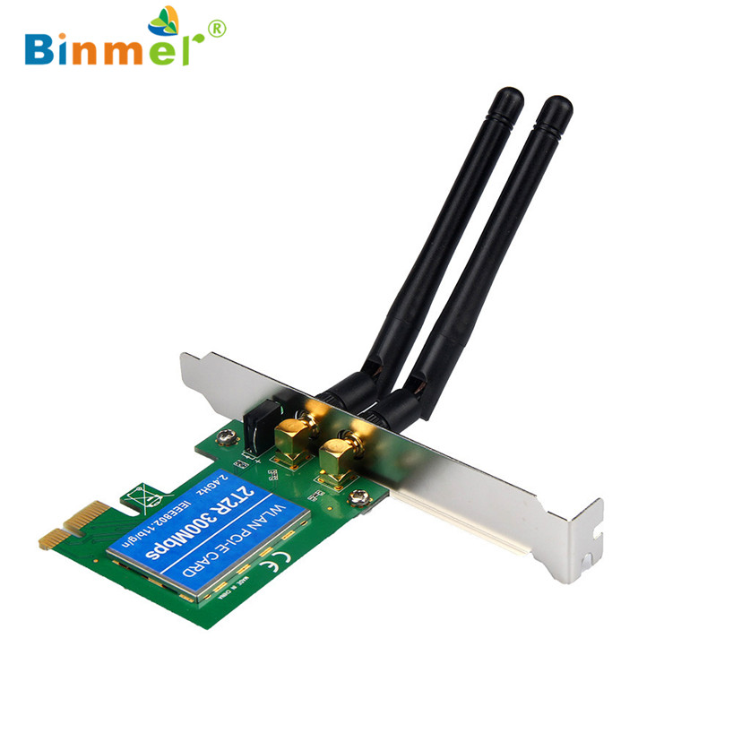 Binmer 2017 Freeshiping PCI-e Express Wireless Wifi 300M Network LAN Card Adapter 802.11B/G/N 2 Antenna Sep 20