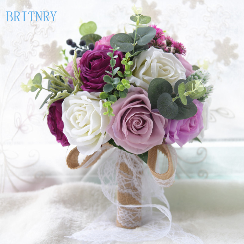 BRITNRY 2018 Real Images Wedding Flowers Bridal Bouquets Rose Wedding Bouquet Beautiful Flower Bouquet Wedding Accessories