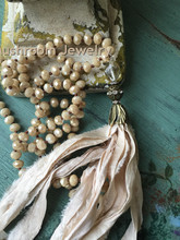 Glass Crystal Beads Hand Knotted Boho long  Sari Silk Tassel Lady Necklace Jewelry недорого