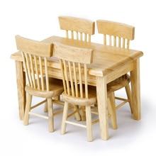 5 шт./компл. 1/12 кукольный домик Миниатюрный обеденный стол стул деревянная мебель набор(цвет дерева