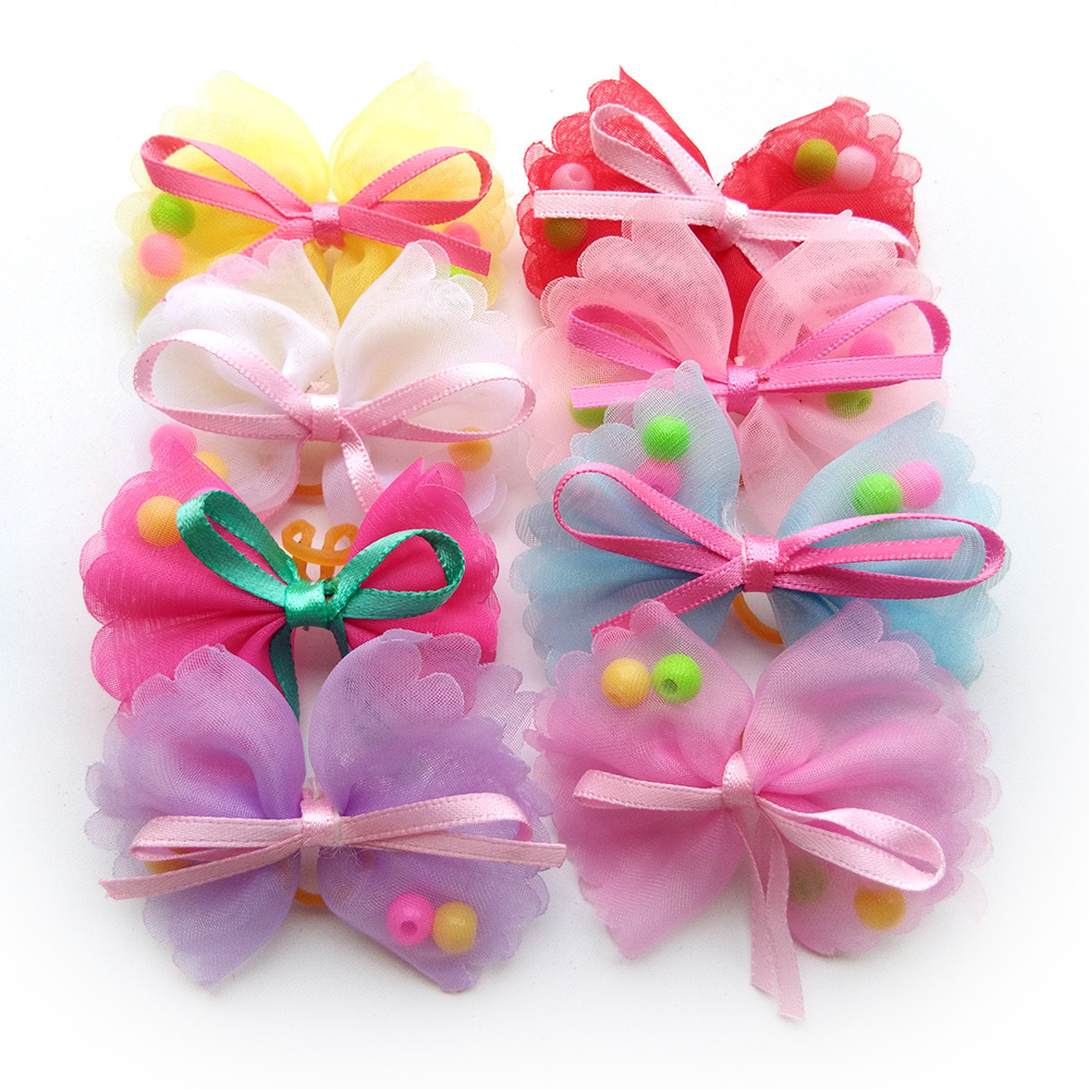 20pcs Pet Puppy Dog Hair Bows Polyester With Pearls Pet Dog Grooming Bows Dog Hair Accessories For Small Dogs Puppy Pet Products