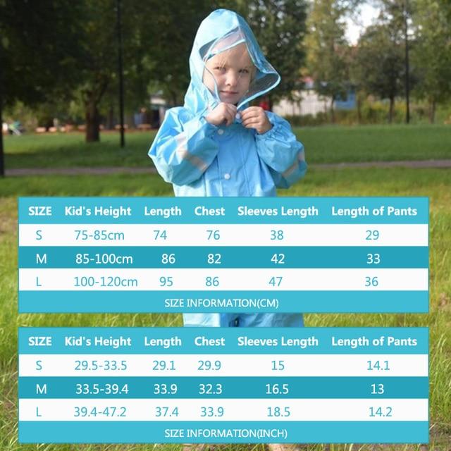 QIAN 2-9 Years Old Fashionable Waterproof Jumpsuit Raincoat Hooded Cartoon Kids One-Piece Rain Coat Tour Children Rain Gear Suit 6