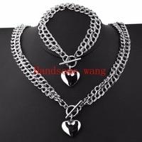 Perfect Design 6mm 45cm 20 5cm Silver 2Row Link Chain Romantic Heart Bracelet Necklace Jewelry Sets