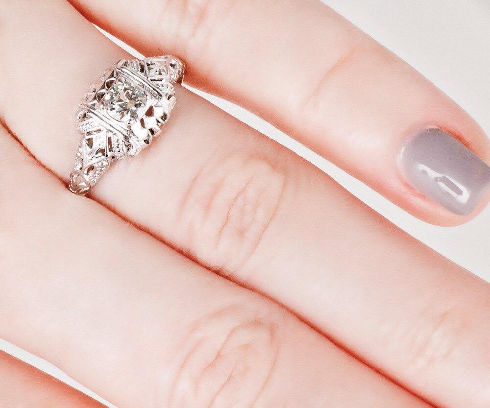 Simffvn Ring For Women 0.3CT Round Cut White Topaz Plat Art Deco ...