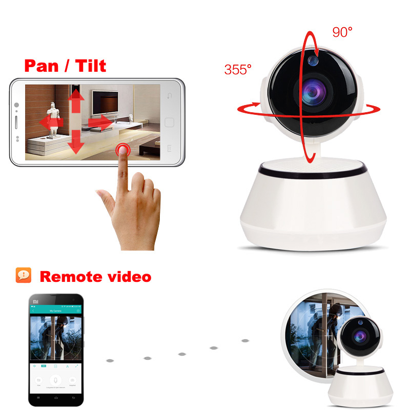 JIENU ip camera 720p wifi cctv security wireless home system mini ptz surveillance cam Support Micro sd slot Night vision ipcam in Surveillance Cameras from Security Protection