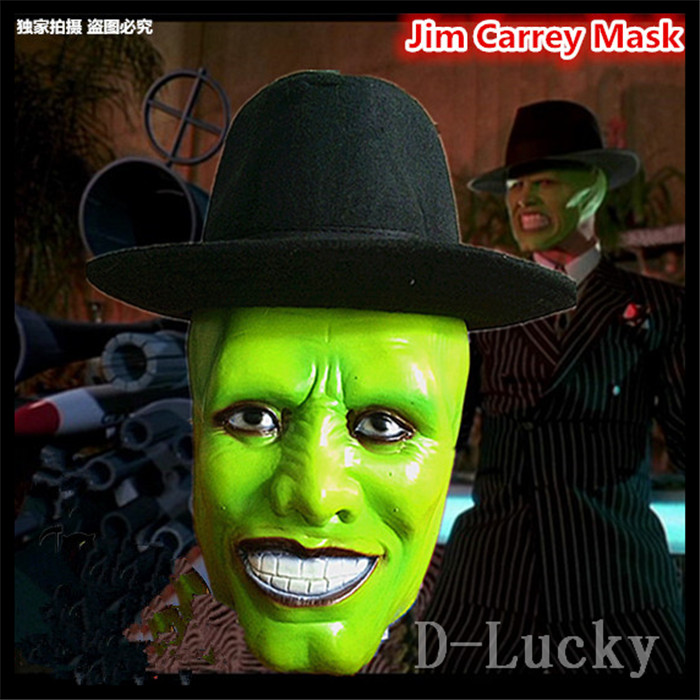 Hot Selling Movies The Mask Jim Carrey Male Mask Mens Fancy Dress Superhero Comic Adults Costume Accessories Free shipping image
