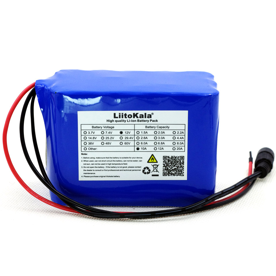 Liitokala high capacity protection <font><b>12V</b></font> <font><b>10Ah</b></font> 18650 <font><b>lithium</b></font> rechargeable <font><b>battery</b></font> <font><b>12V</b></font> 10000 mAh + 12.6V 3A <font><b>battery</b></font> charger image