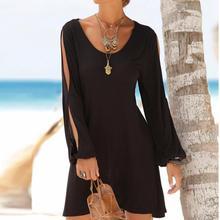 Moda damska sukienka czarna Casual O-Neck Hollow Out rękaw sukienka o prostym kroju solidna sukienka w stylu plażowym tanie tanio WOMEN Szyfonowa CYWANGCANCAN