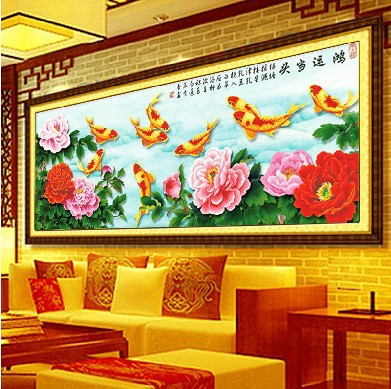 3D cross stitch kit cross-stitch sets,KX fish Opportunity Knocks embroidery kits home decoration hand made craft - Oriental Classical store