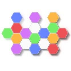 2019 neue Cololight Quantum Lampe Modulare Hexagon Panel Lichter Rot grün gelb blau rosa weiß bunte Touch Sensitive Light