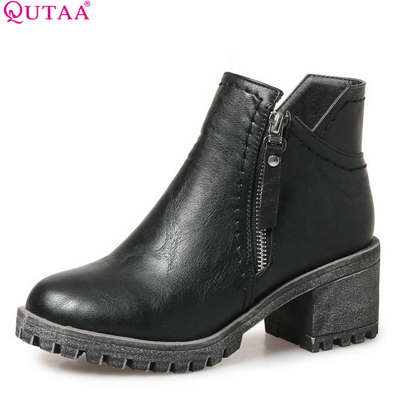 QUTAA 2018 Women Ankle Boots Fashion Zipper Short Plush Square High Heel Spring and Autumn Round Toe Women Boots Size 34-43 nemaone 2018 women ankle boots square high heel pointed toe zipper fashion all match spring and autumn ladies boots