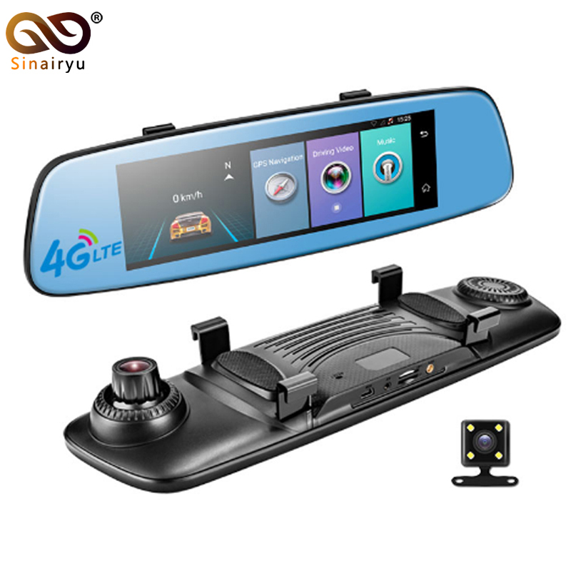 Sinairyu 4G 1080P Car DVR 7.84 Touch Monitor Rear View Mirror with DVR and Waterproof Camera Android Dual lens WiFi DashCam GPS
