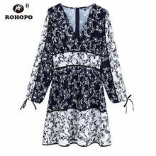 ROHOPO Long Sleeve Vintage Floral Patchwork Autumn Dress Tie Cuff Contrast Color Peplum Splice Elegant Multiways Dress #UK9479 contrast collar and cuff grid dress