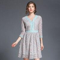 2017 Autumn Fashion Collect Waist Thinness V Neck Lace Dress Woman Brand Design Dresses Womenrobe Dentelle