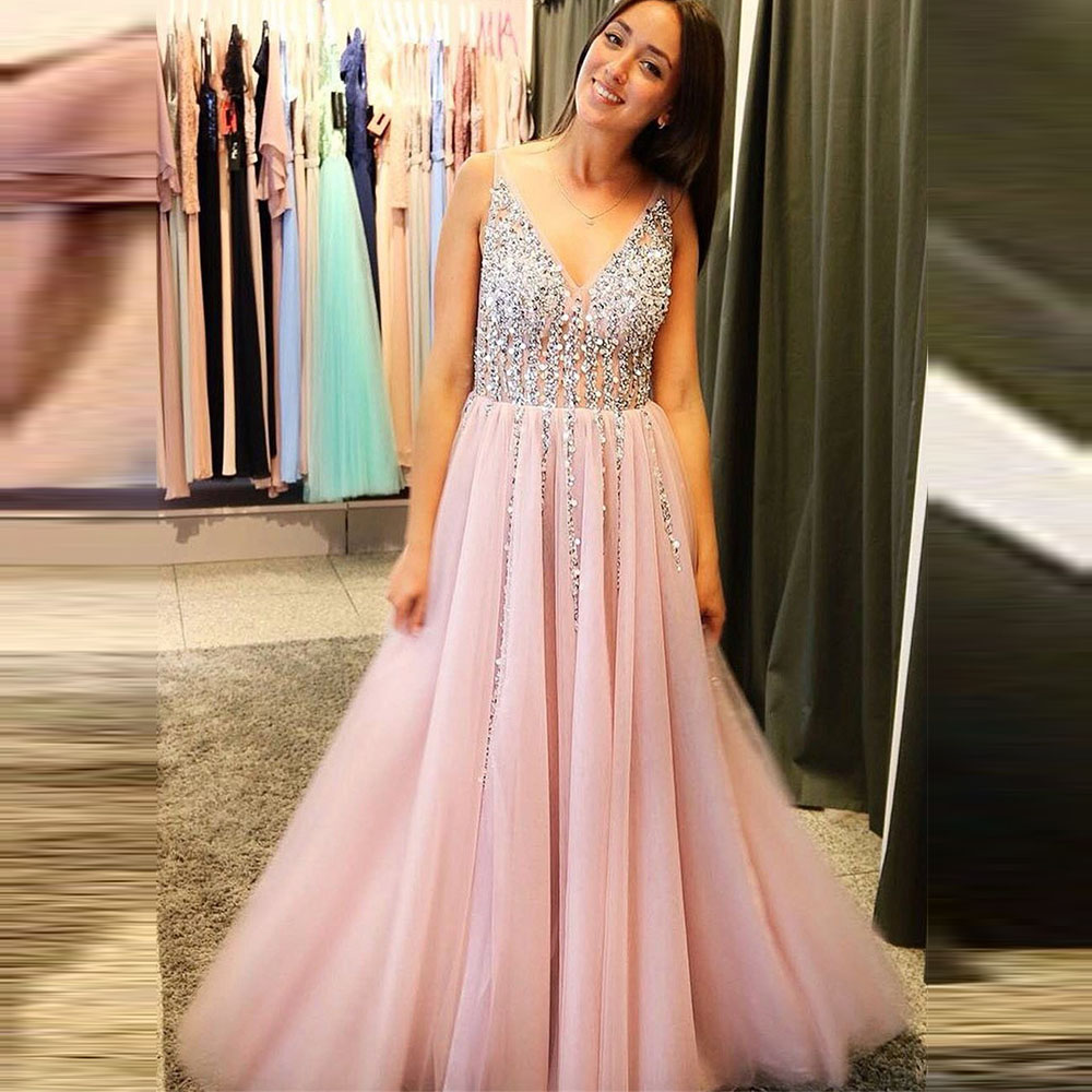 Angel Married Illusion V Neck Sleeveless Pink Tulle Sequined   Prom     Dresses   Long Evening Gowns 2019 vestidos de festa