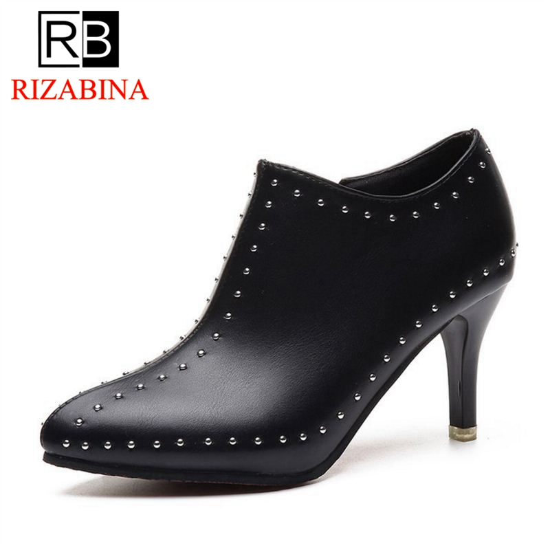 RizaBina 4 Colors Women High Heel Shoes Zipper Pointed Toe Bling Woman Pumps Sexy Mature Shoes Office Footwear Size 35-39