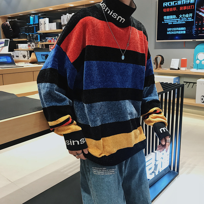 YASUGUOJI Preppy Style Fashion Striped Contrast Color Mens Sweaters Letter Casual Loose Turtleneck Men Knitted Pullovers Sweater