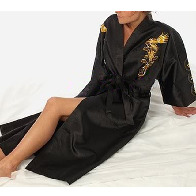 Free Shipping Black Chinese Women's Satin Silk Embroidery Robe Kimono Bath Gown Dragon Size S M L XL XXL XXXL  NS0070