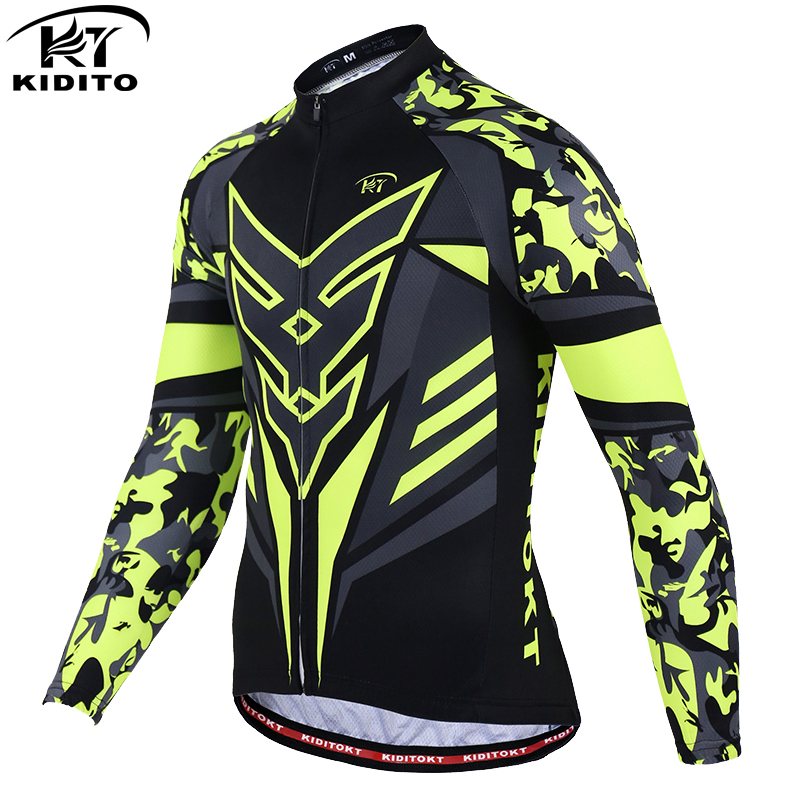 KIDITOKT Long Sleeve Cycling Clothing Breathable 100% Polyester Men's Cycling Jersey Ropa Ciclismo Sportswear Riding Clothes
