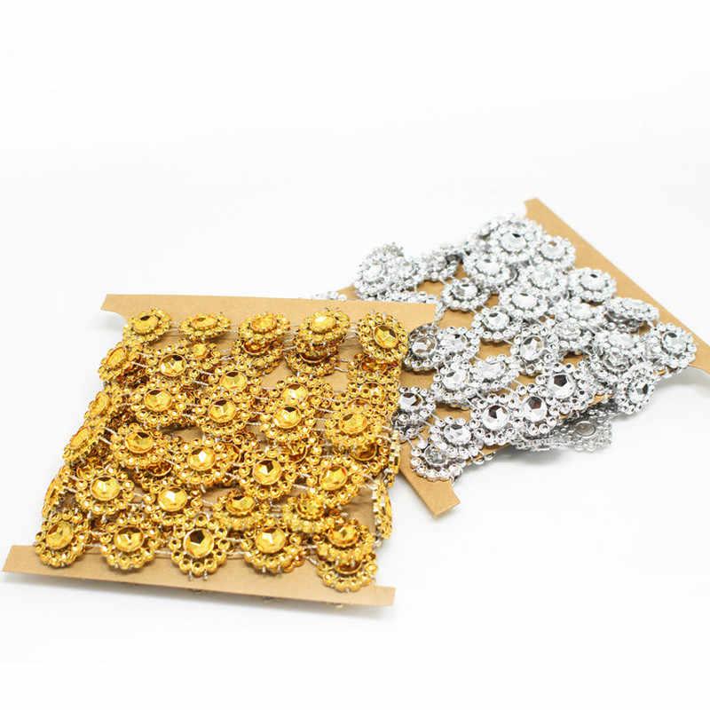 2yards/lot 15mm çiçek elmas Bling kristal şerit Wrap Trim DIY ev düğün pastası partisi güneş çiçek dantel süslemeleri