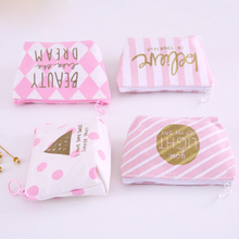 70PCS / LOT Purse Coin Wallet Women Zipper Wallets Mini Money Bag Card Holder Pink Stripe
