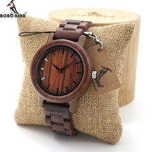 BOBO BIRD Men Ebony Wooden Quartz Watches Mens Top Brand Luxury Full Wood Band clock in Gift Box relogio masculino custom logo