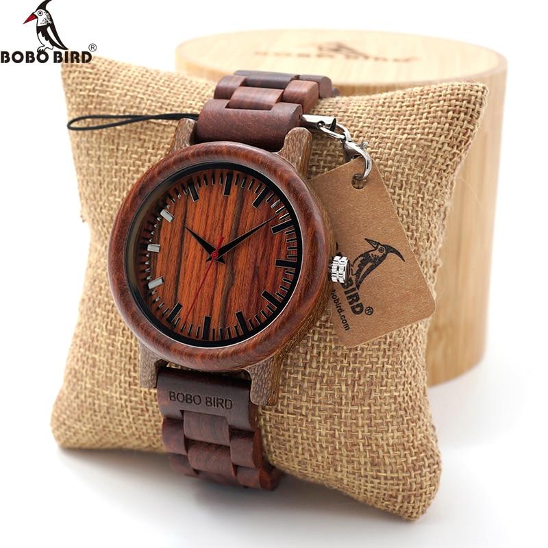 BOBO BIRD Άνδρες Ebony Ξύλινα ρολόγια χαλαζία Mens Κορυφαία μάρκα πολυτελείας Full Wood ρολόι ρολόι σε Gift Box relogio masculino έθιμο λογότυπο