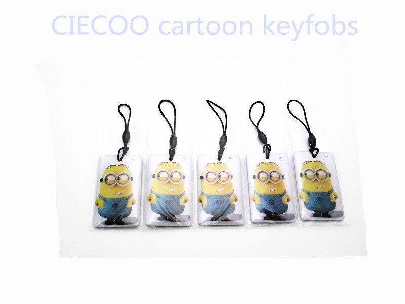 10 Pcs/lot RFID 125Khz  Key Tags Cartoon Despicable Me Writable Rewrite Proximity ID Token Tag Key Keyfobs free shipping