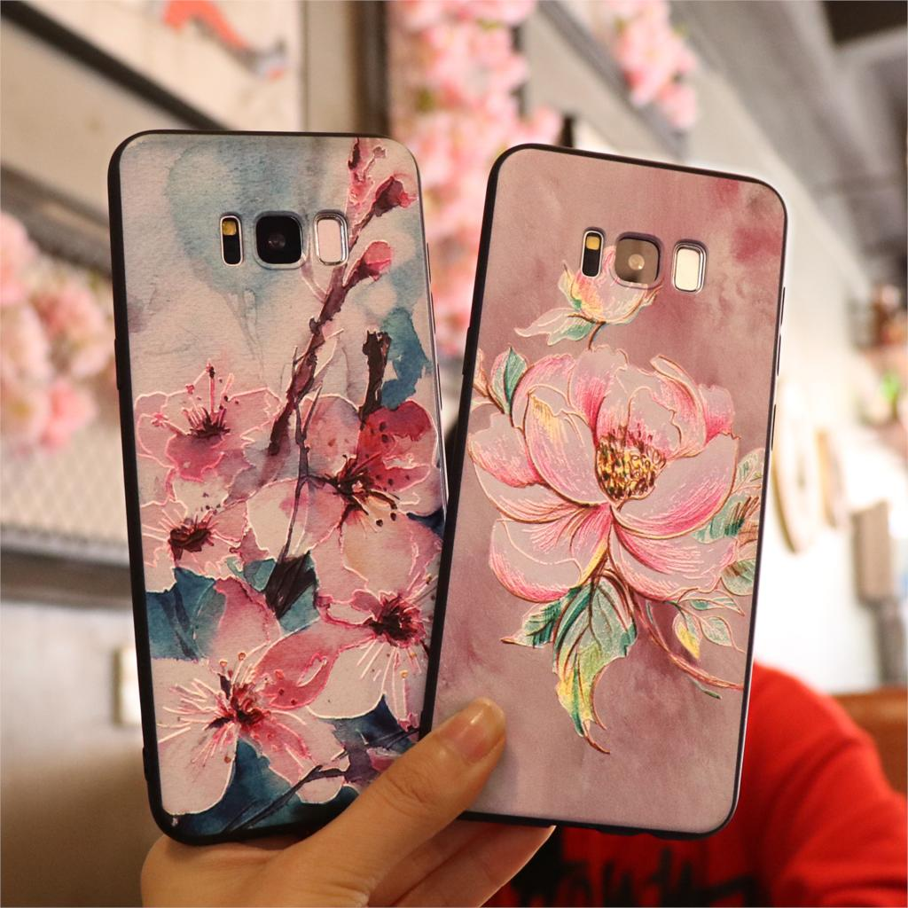 40a9e166b01 3D Relief Silicone Flower Case For TPU Samsung Galaxy S8 S9 Plus S10 Plus  S10e Cover For Galaxy J5 A5 2016 2017 A7 2018 Note 8 9