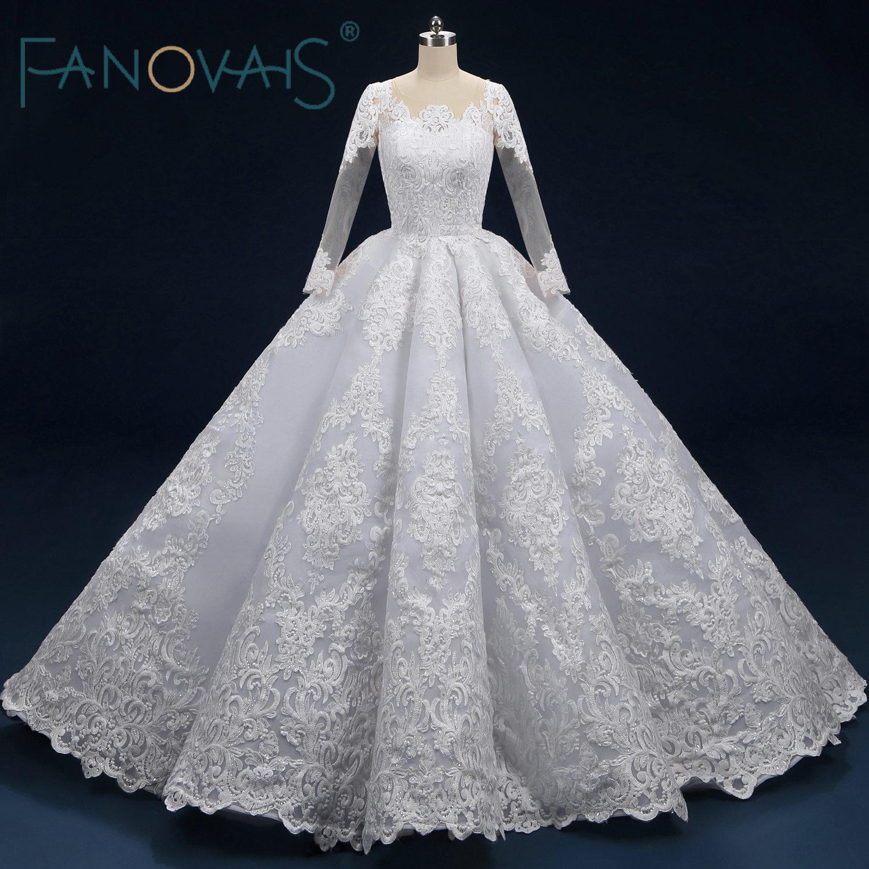 Ruffled Ball Gown Wedding Dress: Lace Wedding Dresses Long Sleeves Ball Gown 2019 Wedding