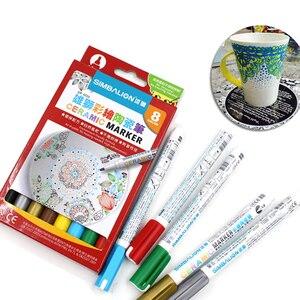Image 3 - באיכות גבוהה 8 צבעים קרמיקה עט יד מצויר Creative DIY זכוכית ציור סמן עט משלוח אפוי ספל ציור צבע מברשת עט