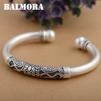 BALMORA 990 Pure Silver Lotus Flower Fish Open Bangles For Women Mother Gift About 18cm Retro