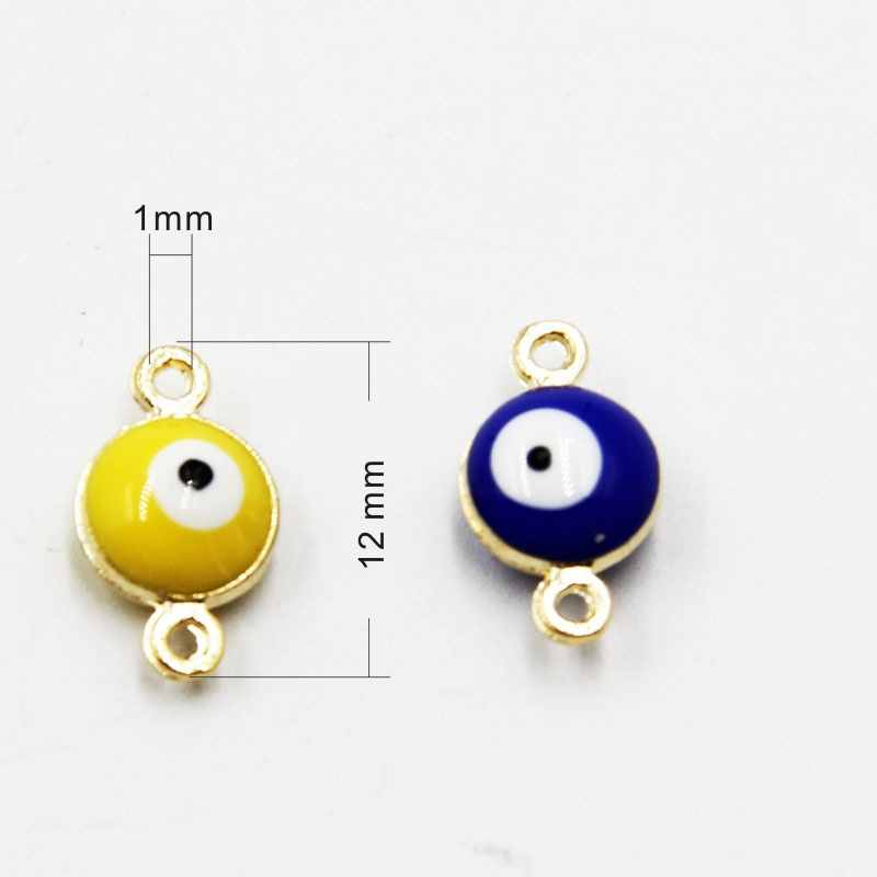 50pcs 12mm Colorful Turkish evil eye Bracelt simple charm bracelet and anklet golden beads party 2016 CP0008