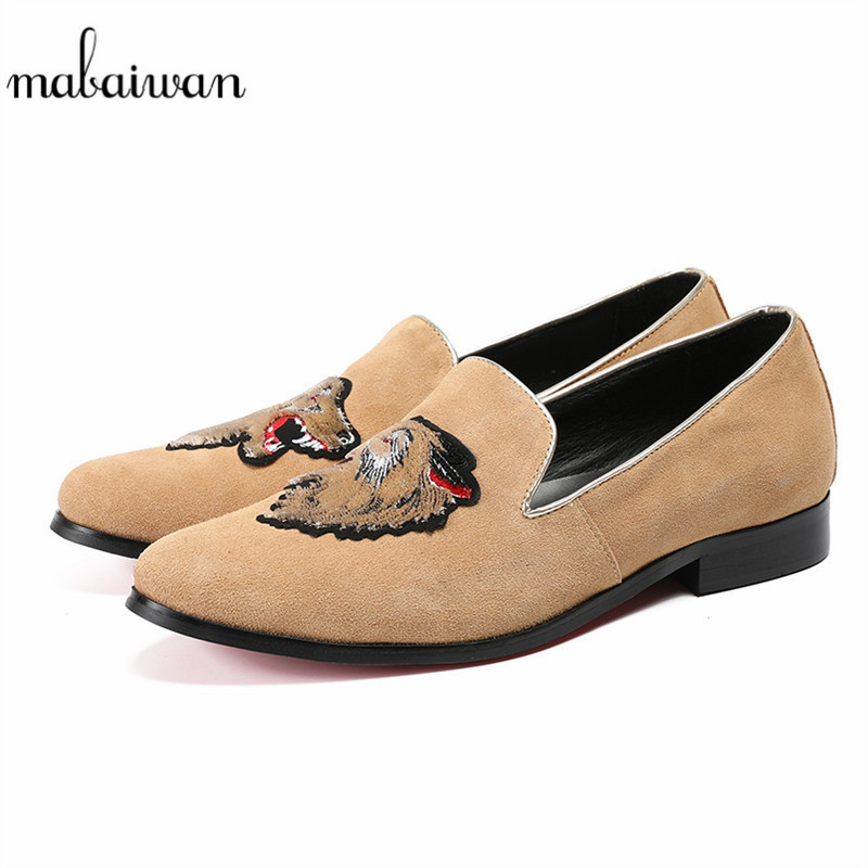 Mabaiwan New Design Male Casual Shoes Plus Size Loafers Lion Embroidery Slipper Camel Suede Dress Shoes Men Leather Party Flats plus size 2016 leather men dress shoes fashion buckle loafers shoes for man male leather party shoes new brand men flats fpt524