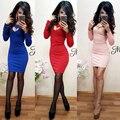 Новое Прибытие 2017 женщины Вырез Сексуальное Платье С Длинным Рукавом О-Образным Вырезом тонкий платье мини-платье плюс размер бесплатная доставка