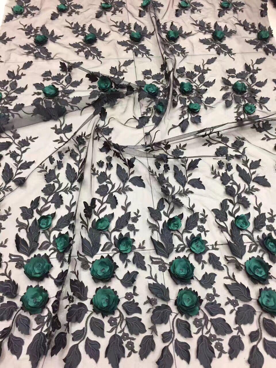 Joli LJY 61204 nigérian dentelle tissu livraison gratuite par dhl 3d fleur brodé tulle dentelle tissu pour belle robe-in Dentelle from Maison & Animalerie    1