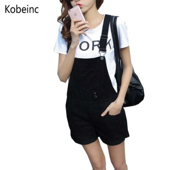 College Wind Summer Denim Bodysuit Shorts Slim Thin Straps Loose Plus Size Jumpsuit Casual Vintage White Black Pink Overalls plus size short overalls