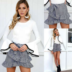 Shorts Skirts Skater Flared Pleated High-Waist Hot-Sexy Women Lady Plain Charming