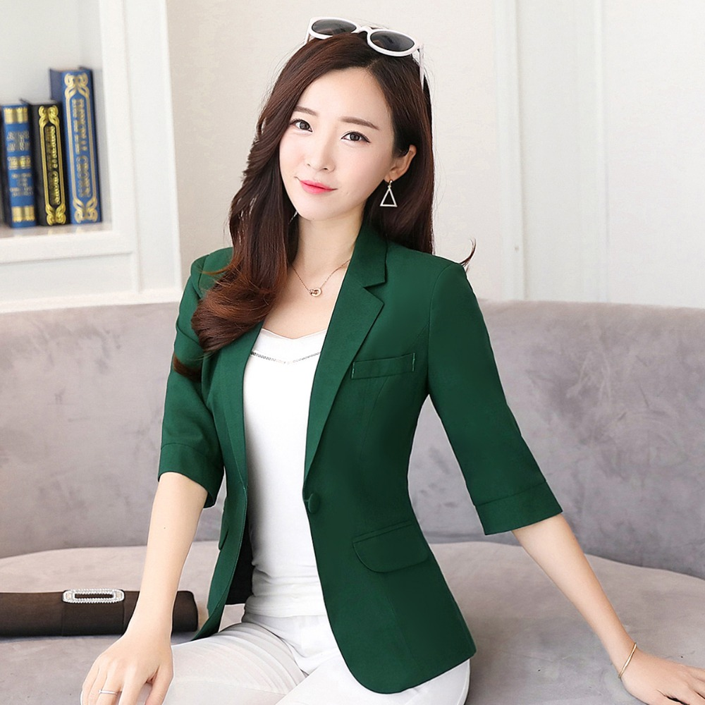 2019 Women Work Business Solid Single Button Notched Collar Largest Size 4XL Female Green Blazers And Jackets Tops Y324