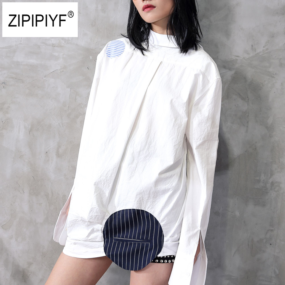 runway party dresses 2018 New Superior quality Loose Patchwork Striped Dot Shirt dress women elegant Casual tunic Dress B331