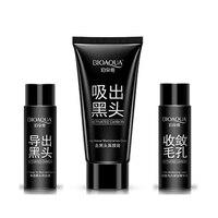 Quality BIOAQUA Brand 3 Pcs Set Skin Care Charcoal 3 Steps Nose Pack Blackhead Remover Peel