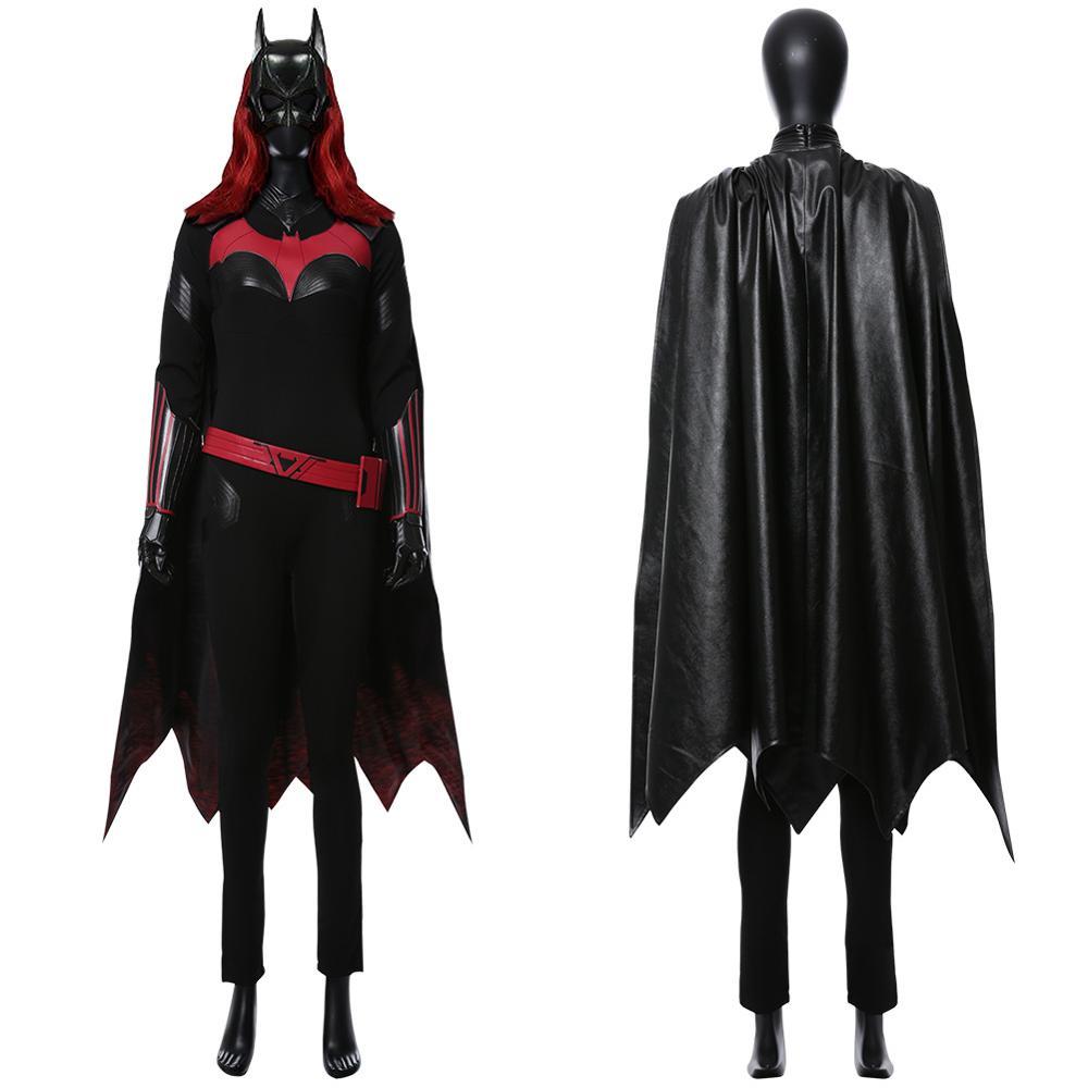 Batwoman Batgirl Kathy Kane Cosplay Kostüm Erwachsene Frauen Mädchen PU Leder Kap Volle Sets für Halloween Karneval Party