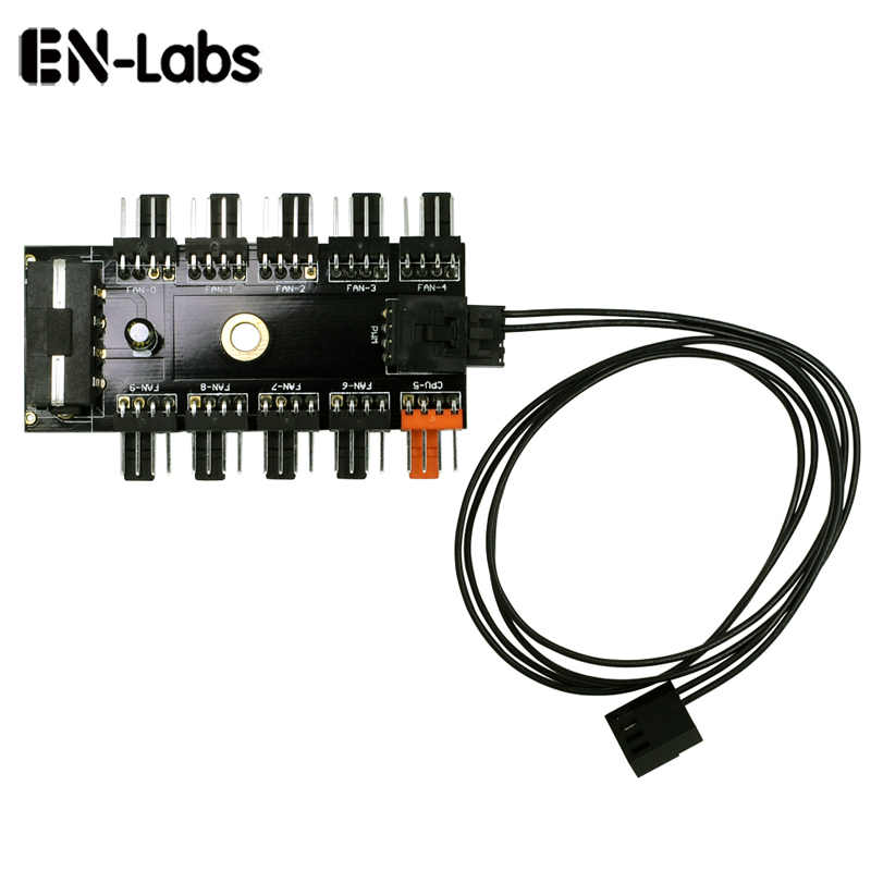 En-Labs Fan Cooling System 10 Channel CPU Molex 4pin PWM Fan Splitter Hub Power Extension Cable,4 Pin Backward 3 Pin 2pin Fan