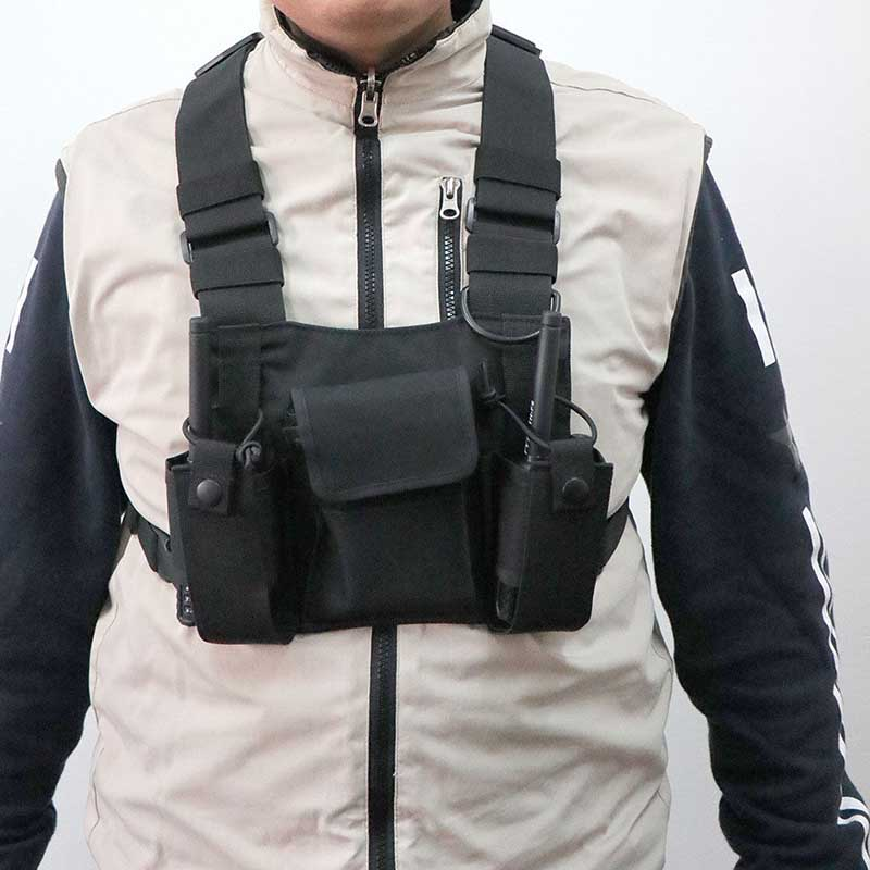 3 Pocket Chest Pack Bag Harness for Phone Walkie Talkie Radi Tool 22x18CM Balck --M25 цены онлайн